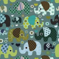 Bomulds jersey i støvet grå-grøn med elefanter