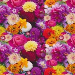 Afklip Bomuldsjersey økotex m/digitalt tryk med blomster i pink og gul 40x60 cm.