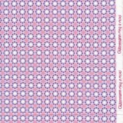 Bomulds jersey økotex med blomst i cirkel i rosa og lyseblå - Gütermann