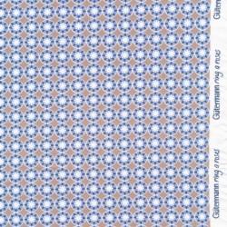 Bomulds jersey økotex med blomst i cirkel i mørk pudder og lyseblå - Gütermann