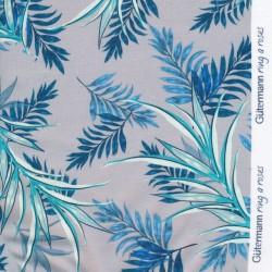 Bomulds jersey økotex med blade i lysegrå og blå - Gütermann