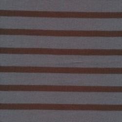 Stribet ribstrikket jersey i grå og brun