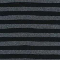 Stribet ribstrikket jersey i grå meleret og sort