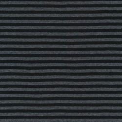 Stribet ribstrikket jersey i grå og sort