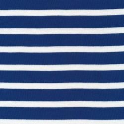 Stribet ribstrikket jersey i hvid og blå