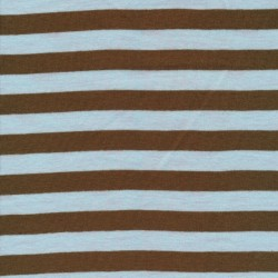 Stribet ribstrikket jersey i brun og babylyseblå