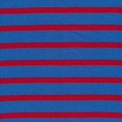 Stribet ribstrikket jersey i klar blå og rød