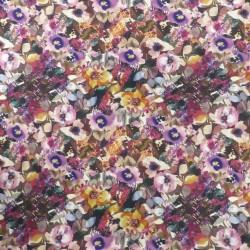 Bomuldsjersey økotex m/digitalt tryk med blomster i cerisse, sand, brændt orange