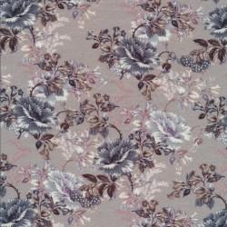 Afklip Bomuld/lycra økotex m/digitalt tryk i lysegrå med blomster, 40x60 cm.