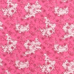 Bomuldsjersey i pink med blomster og striber
