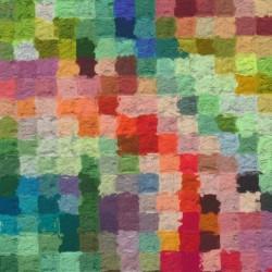 Bomuld/lycra økotex m/digitalt tryk med multifarvede firkanter