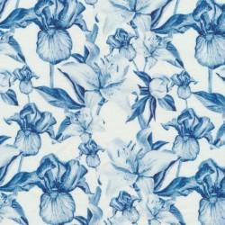 Bomuld/lycra økotex m/digitalt tryk i hvid med denimblå blomster