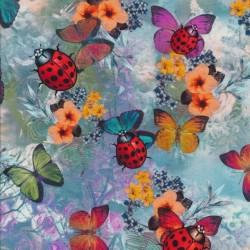 Afklip Bomuld/lycra økotex m/digitalt tryk med sommerfugl og mariehøne 40x60 cm.
