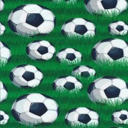 Afklip Bomuld/lycra økotex digitalt tryk med fodbolde og græs 39x60 cm.