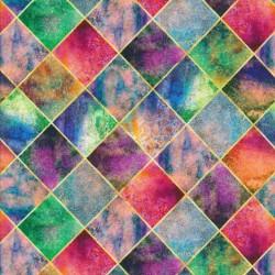 Bomuld/lycra økotex m/digitalt tryk med harlekin mønster i multifarvet