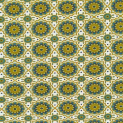 Bomuld/lycra økotex m/digitalt tryk med retro blomster-mønster