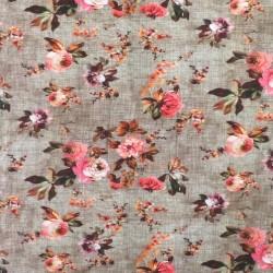 Bomuld/lycra økotex m/digitalt tryk i meleret brun med blomster