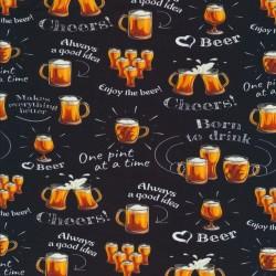 Bomuld/lycra økotex m/digitalt tryk i sort med øl