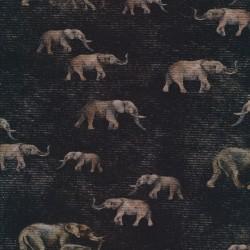 Afklip Bomuld/lycra økotex m/digitalt tryk i sort meleret med elefanter, 40x60 cm.