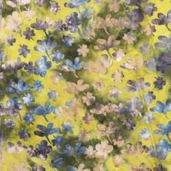 Jersey batik med blomster i gul/army