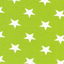 Afklip Bomuld/lycra økotex m/stjerner lime/hvid, 50 cm.