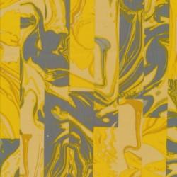 Neopren-jersey scuba med mønster i striber, i gul og grå