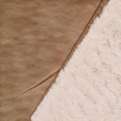 2-side pels/imiteret ruskind i lysebrun og sand