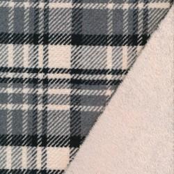 2-sidet skovmands-tern/pels i offwhite, sort, grå og sand