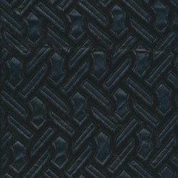 Pels med læder zig-zag mønster i sort
