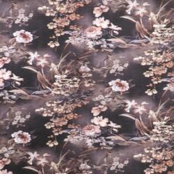 Plissé jersey med blomster i rosa, brun, sort