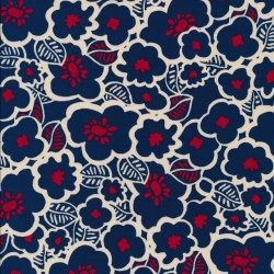 Polyester digitalprint blomstret i blå, rød, offwhite