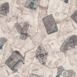 Afklip Patchwork stof i off-white og grå-brun og med handsker og