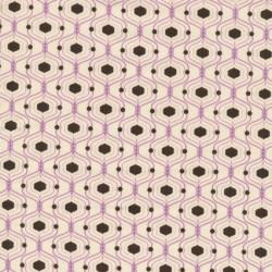 Afklip Patchwork stof med kubemønster i off-white, lilla og brun 50x55 cm.