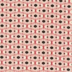 Afklip Patchwork stof med kubemønster, off-white, rød og brun 50x55 cm.