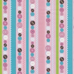 Patchwork stribet stof med knapper i lyserød