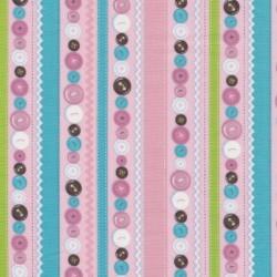 Afklip Patchwork stof striber og knapper i lyserød, 50x55 cm