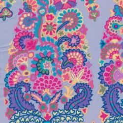 Afklip Patchwork af Kaffe Fassett stormønstret stoffet er lyselilla, pink, 50x55 cm.