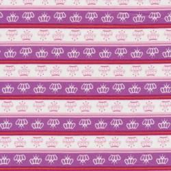 Patchwork stof med striber prinsessekroner i hvid og lilla