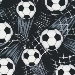 Afklip Patchwork stof med fodbold i sort, hvid og grå 40x55 cm.
