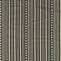 Patchworkstof med striber og prikker i sort og off-white