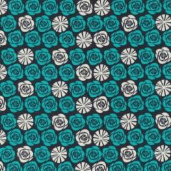 Afklip Patchwork stof med blomster i koks, petrol og off-white 50x55 cm.