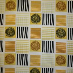 Patchwork stof i gul, carry og sort med firkanter