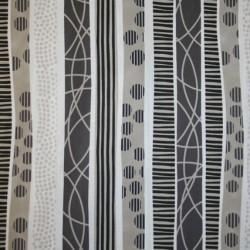 Rest Patchwork stof i hvid, sort og sand med striber- 75 cm.