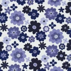Patchwork stof blomstret i hvid, denim og mørkeblå