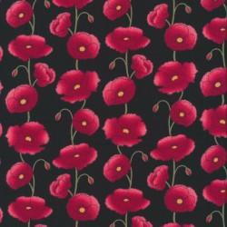 Afklip Bomulds-poplin sort med valmuer 50x55 cm.