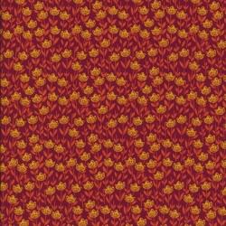 Patchwork stof med blomster mørk rød - orange - gul