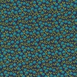 Patchwork stof med blomster mørkeblå - petrol - lime