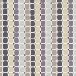 Afklip Patchwork stof med firkanter og prikker i striber 50x55 cm.