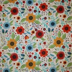 Afklip Patchwork stof med blomster knækket hvid okker brændt orange 50x55 cm.