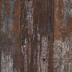Patchwork i træ-look i mørkebrun brun og lysegrå